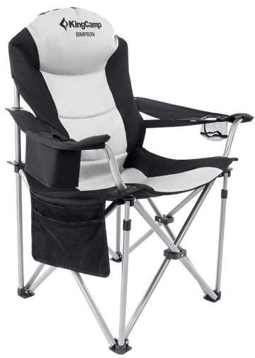 KingCamp Camping Chair Heavy Duty Lumbar Back Support Oversized Quad Arm Chair