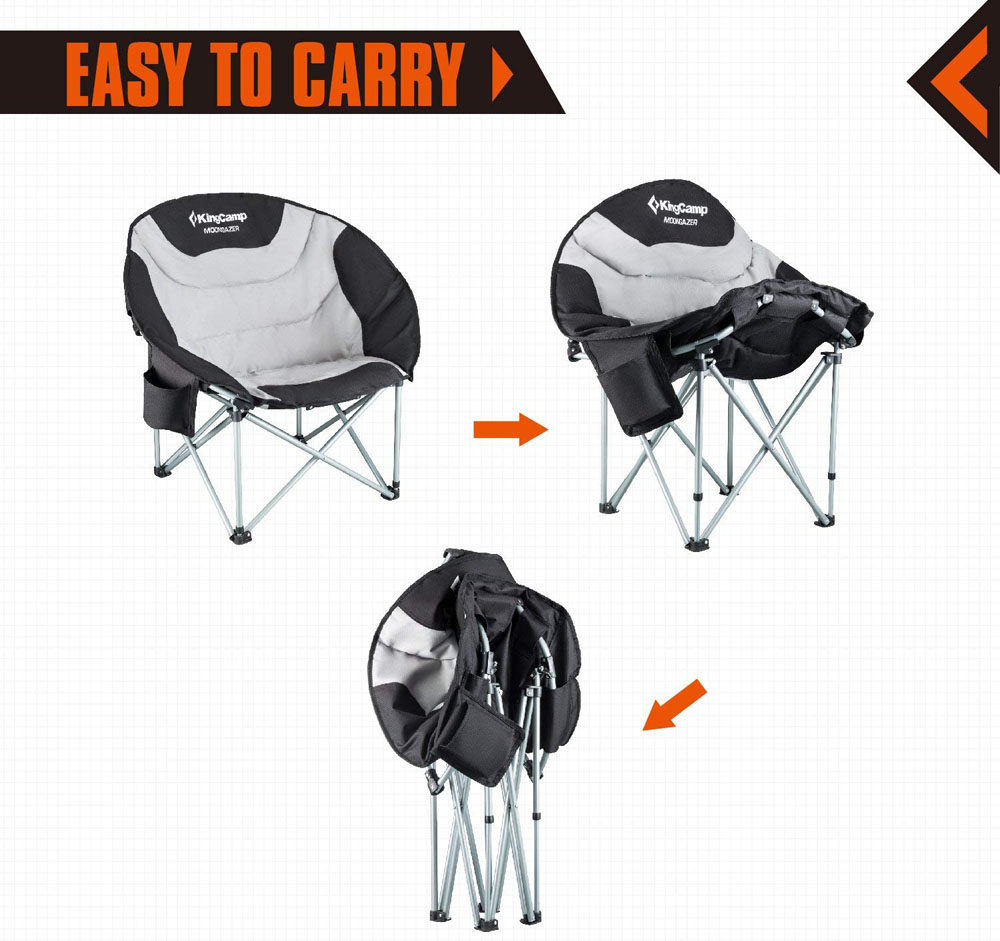 KingCamp Moon Saucer Leisure Heavy Duty Steel Camping Chair Padded Seat (Grey with Cup Holder and Cooler Bag)