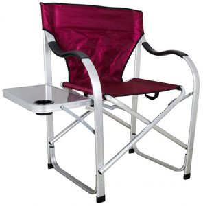 Stylish Camping SL1215 Burgundy heavy duty camping chair with Side table