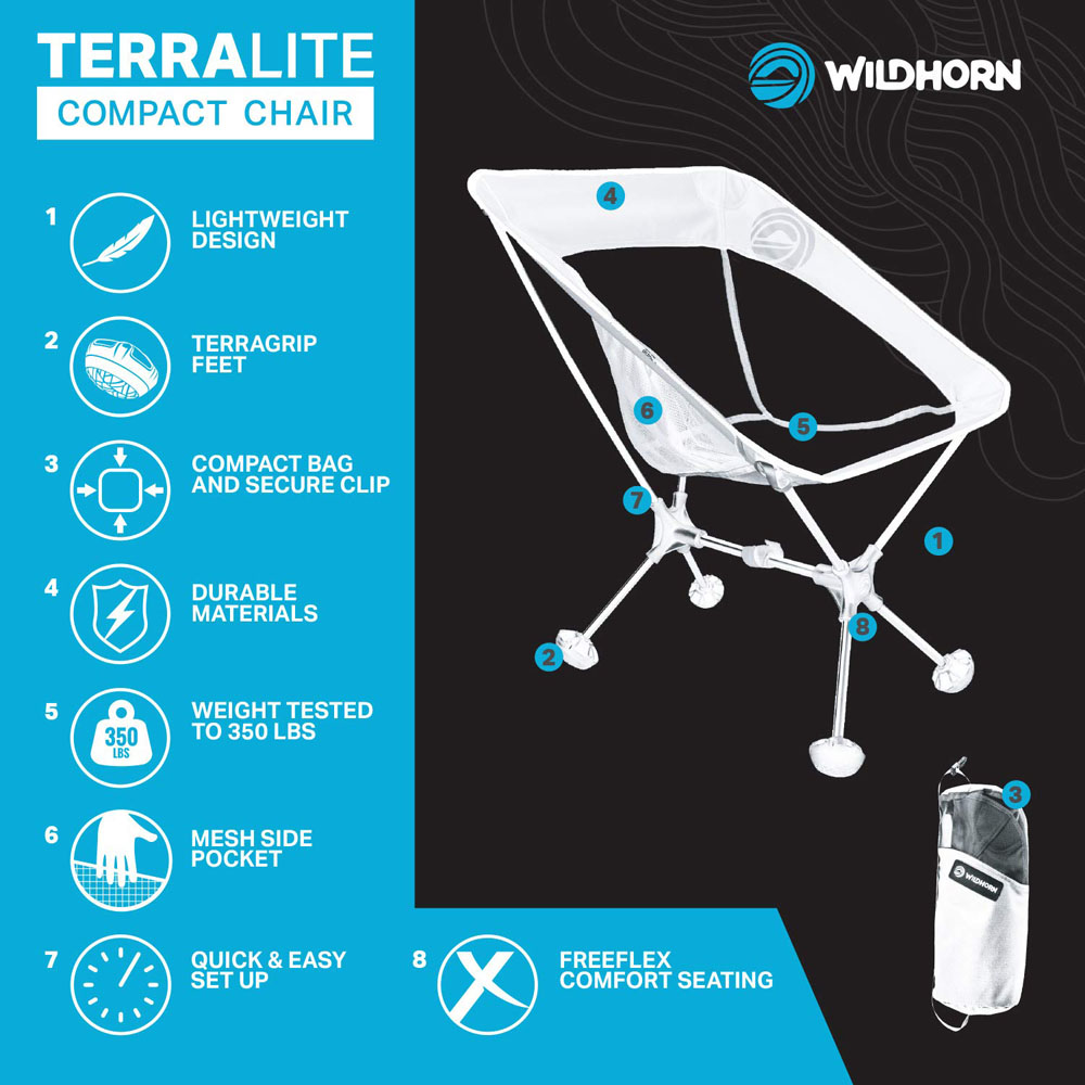 Terralite Portable Camp Chair. Perfect For Camping, Beach, Backpacking