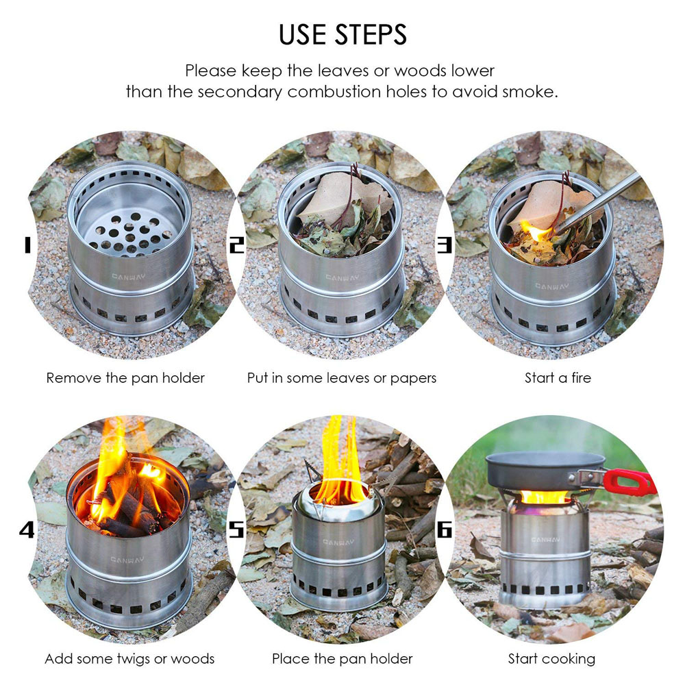 Canway Camping Stove, Wood Stove/Backpacking Stove