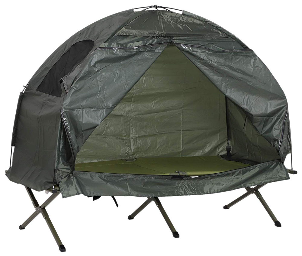 Outsunny Compact Pop Up Portable Folding Outdoor Elevated Camping Cot Tent Combo Set