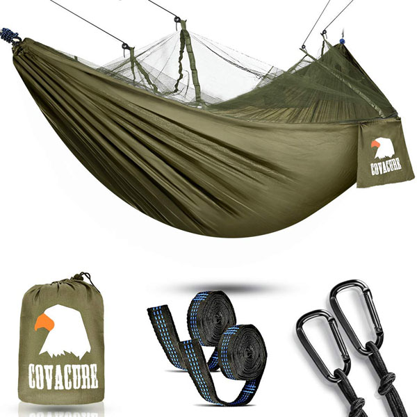 Camping Hammock with Net Lightweight COVACURE Double Hammock