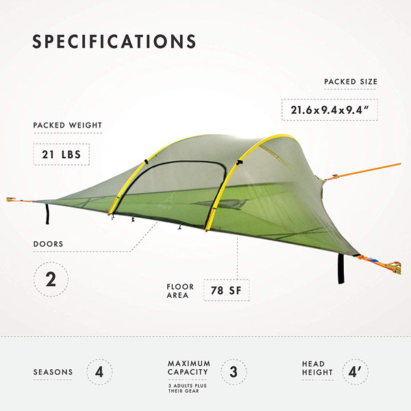 Tentsile Stingray 3 Person All-Season Suspended Camping Tree House Tent