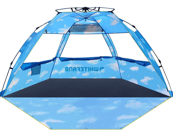 WhiteFang Beach Tent, Pop Up Instant Family Tent with UPF 50 Sun Protection